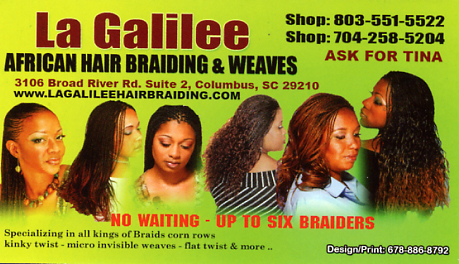Up to 50 coupon for la galilee hair braiding columbia sc 3211 print our business card colourmoves
